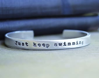 Just Keep Swimming Bracelet - Nautical Cuff - Motivational Bracelet  - Nautical Jewelry - Gifts Under 20