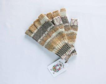 Fingers Free Gloves - Baird.Hand Knit Fingerless Gloves.Mock Fairisle Fingerless Gloves.