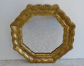 faux brass octagonal mirror by burwood products, vintage gold mirror, cast plastic with ornate design, entryway accent mirror, wall mirror