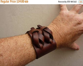 On Sale Brown Leather Cuff by Muse 2 inches
