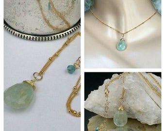 30% SALE Aquamarine Pendant Aquamarine Briolette Choker Necklace Wire Wrap 14kt Gold Fill  Dangle Aqua Blue Pendant Gold Fill Chain Delicate
