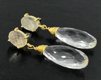 FLASH SALE Clear Quartz Drop Earring Crystal Quartz Post Earrings Wire Wrap  Clear Quartz Gemstone Gold Vermeil Quartz Drop Evening Wedding