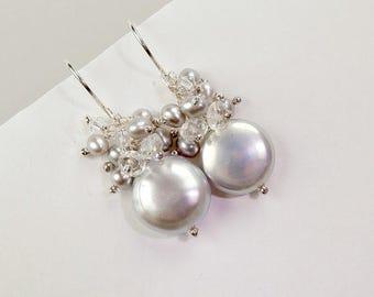 SALE Silver Grey Coin Pearl Earrings Wire Wrap Cluster White Topaz Crystal Grey Pearl Earrings Wedding Jewelry Bridesmaid Earrings Beach Wed