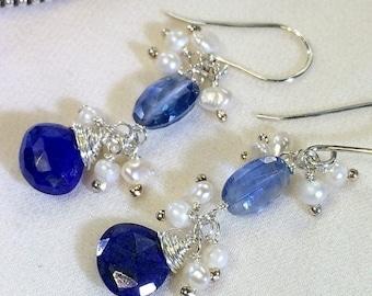 FLASH SALE Blue Earrings Kyanite Earrings Blue Lapis Earrings Sterling Silver Wire Wrap Pearl Cluster September Birthstone Doolittlejewelry