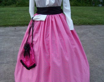 Civil War Child or Ladies Camp Dress,costume drawstring SKIRT one size fit all Pink and white checked Taffeta, Black Sash or Red Sash