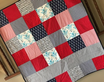 Nautical - Personalized Baby Quilt - Blanket - Crib Size - Ships - Red - Gray - White - Anchors - Blue - Milestone - Customized - Minky