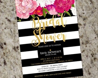 Black and White Stripes Pink and Gold Floral Bridal Shower Invitation - DIY Printable - Print Your Own