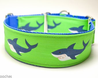 Lime Green Shark Dog Collar / Shark Attack in Lime / Martingale or Buckle Custom Dog Collar / Exclusive