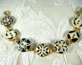 "1920's BLACK & CREAM CHINA ""Stencil"" Button Bracelet"