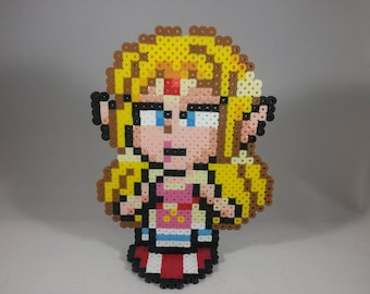Princess Zelda - Legend of Zelda - Nintendo Super Smash Bros - Perler Bead Sprite Pixel Art Figure Stand or Lanyard Necklace