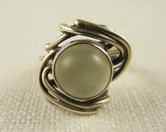 Vintage Size 5.25 Sterling Moonstone Ring