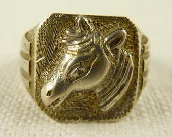 Vintage Size 10.5 Men's Slight Gold Wash Horse Head Ring
