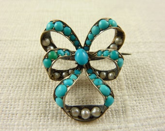 Antique Victorian Sterling Persian Turquoise and Seed Pearl Ribbon Brooch