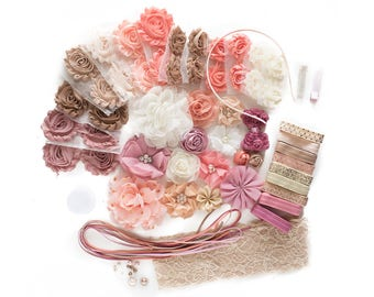Pearls & Lace : DELUXE DIY Flower Elastic Headband Kit   MAKES 30 Hair Accessories   Baby Showers + Birthdays Peach Blush Pink Neutrals