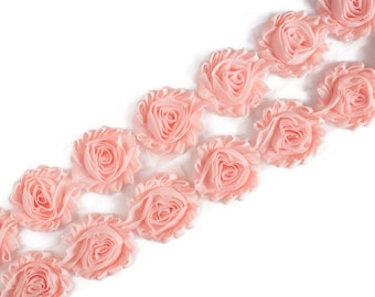 "Vintage Peach  : 14 Flowers  | 2.5"" Chiffon Craft Roses for Headband DIY Kits 