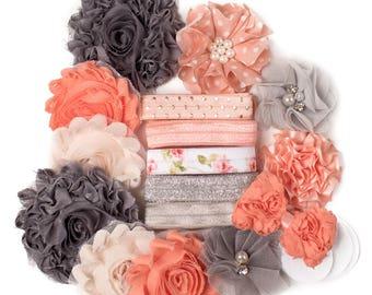 Peachy Keen   10 DIY Headbands   Peach + Gray Headband Kit Craft Flowers FOE Fold Over Elastic   Princess Parties + Baby Showers