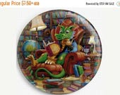 SAVE 30% Needle Minder, Dragon Needle Minder, Cross Stitch Magnet, 'Literate Dragon ' Randal Spangler, Cross Stitch Keeper, Needle Nanny, Ma
