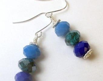 SALE, 50%, Triple Blues Czech dangle earrings, blue glass earrings, holiday earrings, Blue czech beads, fall colors, czech beaded earring