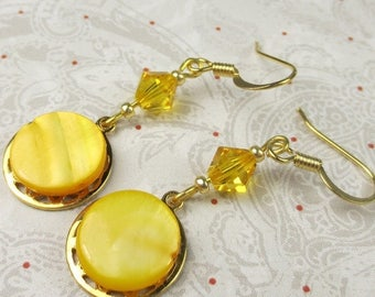 SALE, 50%, Yellow Mother of Pearl shell and swarovski crystal on gold charm, dangle, shell earrings