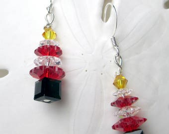 Christmas Tree in red white with yellow star and black cube holiday earrings xmas dazzle swarovski crystals dangle earrings trees