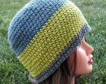 Crochet Beanie in Green, Blue, Yellow Radical Botanical