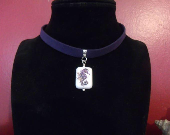 Leather Choker, Seahorse Necklace, Beach Jewelry, Mermaid Jewelry, Choker, Nautical Jewelry, BohoBeach Jewelry, HippyBeach Jewelry, Seahorse