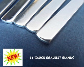 """1/2"""" x 5.5"""" 200 Cuff Blanks 12 GAUGE Metal Stamping Cuff Blank Tumbled Polished - Pure 1100 Aluminum Bracelet Blank - Flat - Made in USA"""