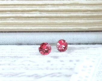 Small Pink Earrings 4mm Studs Crystal Stud Earrings Pink Crystal Studs Surgical Steel Earrings