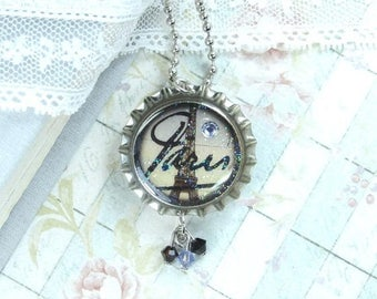 Clearance Necklace Paris Necklace Eiffel Tower Necklace Clearance Sale Bottle Cap Necklace Clearance Jewelry