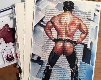 Muscular Nude Leather Male Figure on Vintage Book Paper by Artist Brenden Sanborn