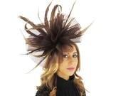 Beautiful Brown  Feathers  Crin  Fascinator Ascot Kentucky Derby Proms SALE