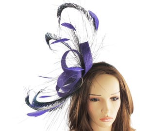 Trisha Black Peacock Fascinator Hat for Kentucky Derby, Weddings and Christmas Parties on a Headband
