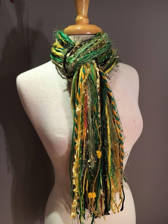 Green and Gold Fringie - Fringie in Packer, Notre Dame, Brazil, Baylor - Fringe Handmade Scarf, Green Bay Packer Colors, Green gold black