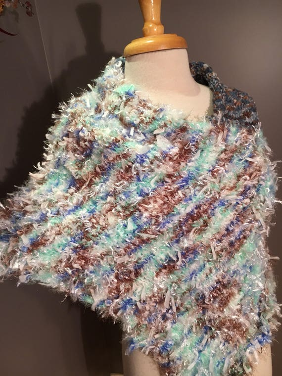 Woven Knit Fluffy soft Poncho, Tapered Cowl, Huntress, Knit Shoulder wrap, white blue brown, fur accessories, warm cowls, fur-like fashion