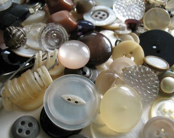 Buttons  Supplies Vintage Buttons One Pound of Buttons Bulk Buttons Craft Buttons Assorted Neutral Colors