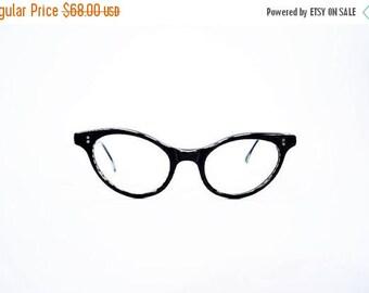 50% OFF SALE // 1950s black eyeglasses | cat eyes black and white frames | vintage 50s eyeglasses | 4 1/4 - 5 1/2
