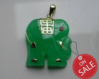 Elephant Pendant 14k Solid Gold Fine Jewelry, Natural Green Jade Elephant Pendant With A Ruby Eye Fine Gemstones Jewelry Pendant YJ3204