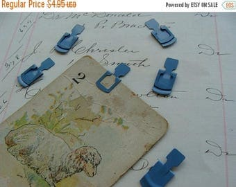 ONSALE 6 Antique Blue Metal Tag File Clips