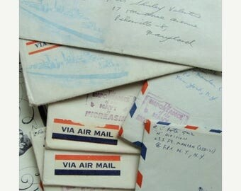 ONSALE Antique Love letter To Miss Shirley Valentine 1950s Military