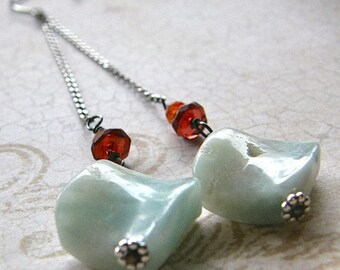 Summer Sale 20% Off Extra Long Aqua Amazonite, Garnet and Carnelian Swing Earrings, Simple Stone Dangle Earrings