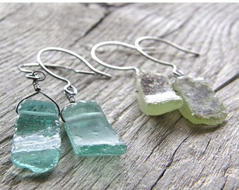 Summer Sale 20% Off Antique Roman Glass Earrings, Recycled Old Aqua and Green Glass Earrings