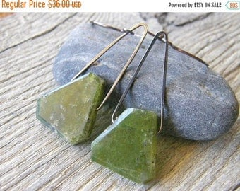 Summer Sale 20% Off Green Vesuvianite Mountain Earrings, Sterling Silver and Green Stone Earrings