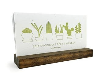 2018 Succulent Letterpress Desk Calendar with Stand - Wildflower Seeded Handmade Paper - Desktop Plantable