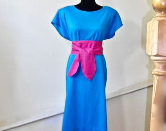 Vintage Anthony Richards 3 Piece Cotton Dress - Turquoise Blue Dress Set