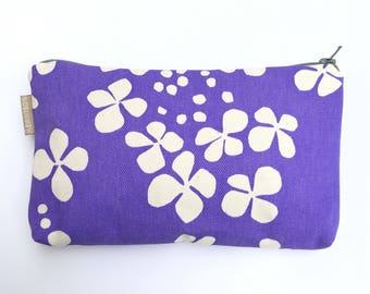 Hydra lilac & lime print purse pouch makeup bag