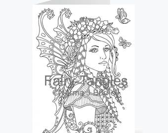 Printable Fairy Tangles Greeting Cards to Color by Norma J Burnell 5x7 Meadow flower Fairy Card for Coloring Card Making & Adult Coloring