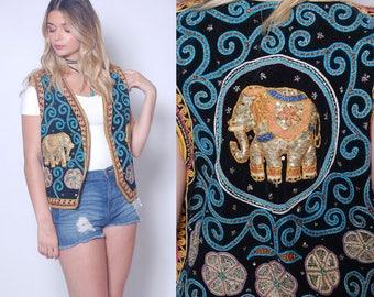 Vintage 80s ELEPHANT Sequin Vest Boho Vest Black VELVET Embroidered Vest Hippie Vest