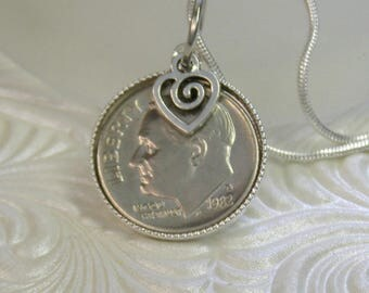 """35th Anniversary or Birthday- 1982 US Dime Pendant and Necklace- 20"""" Sterling Silver Chain-Coin Jewelry"""