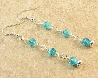 Swarovski Light Turquoise Bi-Cone Crystal Silver Plated Ear Wire Earrings