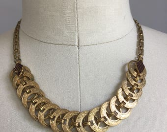 Antique Vintage 1930's Art Deco Etched Rings and Enamel Leaves Choker Necklace